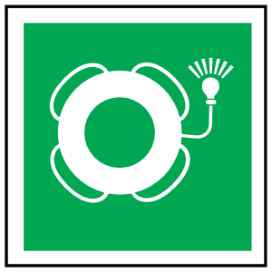 Lifebuoy With Light Icon Sign Sticker