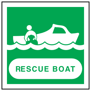 Rescue Boat Sign Sticker