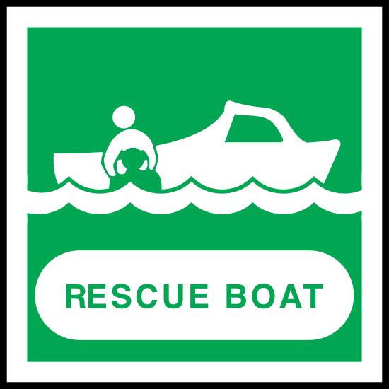 Rescue Boat Sign Sticker
