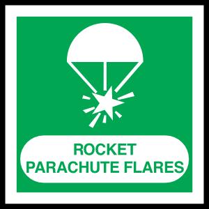 Rocket Parachute Flares Sign Sticker