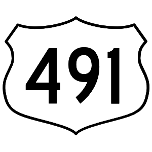 Highway 491 Sign Sticker