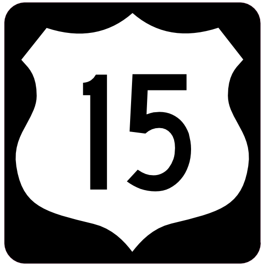 Highway 15 Sign With Black Border Sticker