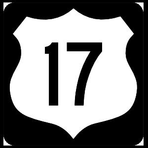 Highway 17 Sign With Black Border Magnet