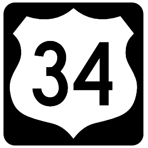 Highway 34 Sign With Black Border Magnet