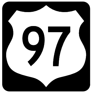 Highway 97 Sign With Black Border Sticker
