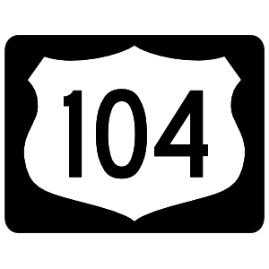 Highway 104 Sign With Black Border Sticker