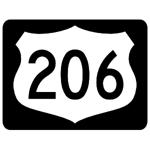 Highway 206 Sign With Black Border Sticker