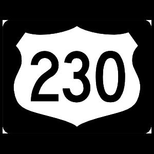 Highway 230 Sign With Black Border Magnet