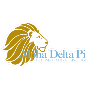 Alpha Delta Pi Lion Name Motto Die Cut Sticker