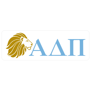 Alpha Delta Pi Lion And Letters Rounded Rectangle Sticker