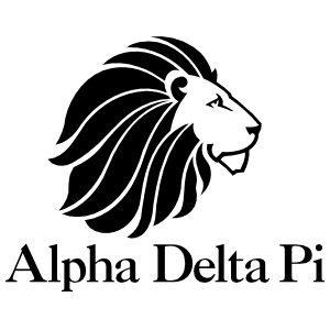 Alpha Delta Pi Lion And Name One-Color Cut-Out Sticker