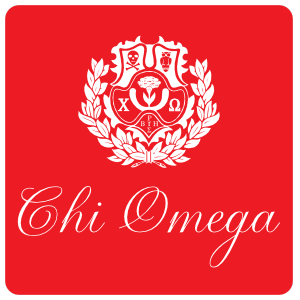 Chi Omega Red Crest Rounded Rectangle Sticker