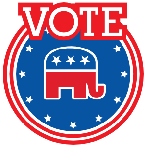 Vote Republican With Elephant Circle Magnets
