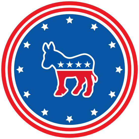 Democratic Party Donkey Printed Circle Magnet