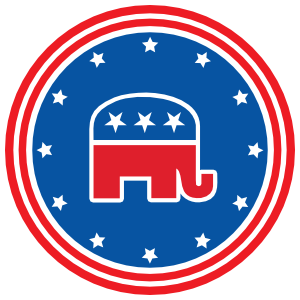 Republican Party Elephant Printed Circle Magnet