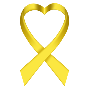 Heart Yellow Ribbon Die-Cut Sticker