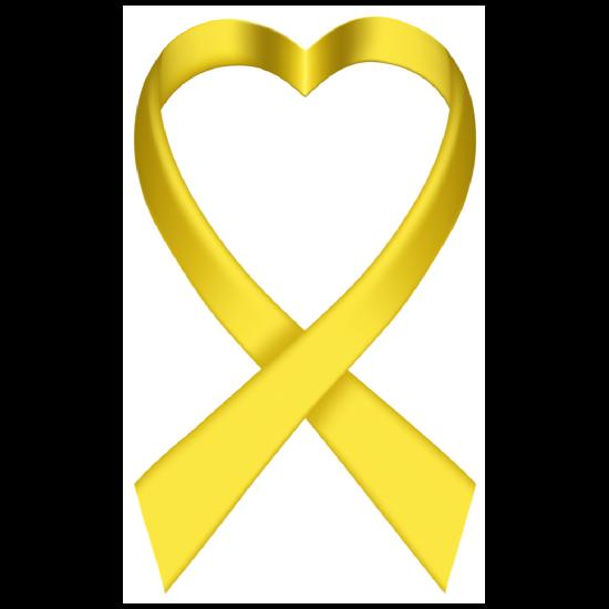 Heart Yellow Ribbon Die-Cut Sticker