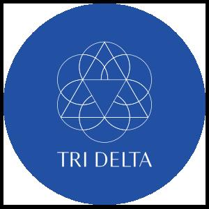 Delta Delta Delta White Vertical Logo On Blue Circle Sticker