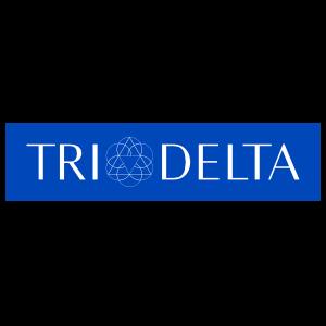 Delta Delta Delta White Logo On Blue Rectangle Sticker