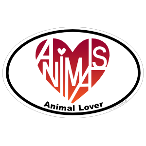 Animal Lover's Heart® Oval Sticker