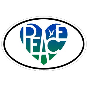 Peace Lover's Heart® Oval Sticker