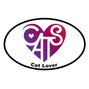 Cat Lover's Heart® Oval Sticker