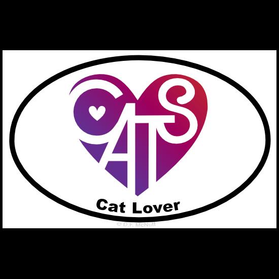 Cat Lover's Heart® Oval Sticker
