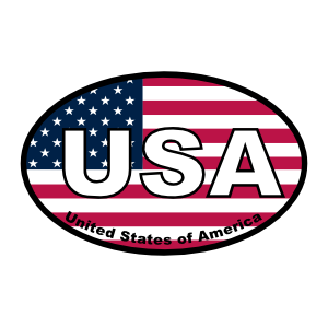 United States Of America Usa American Oval Sticker