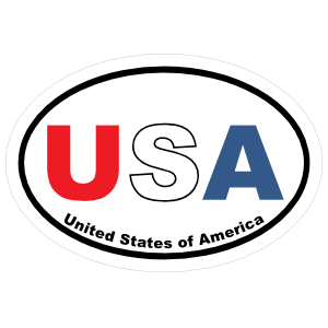 United States Of America Usa Oval In Color Sticker