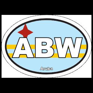 Aruba Abw Flag Oval Sticker