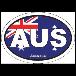 Australia Aus Flag Oval Sticker