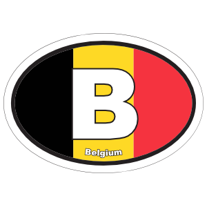 Belgium B Flag Oval Sticker
