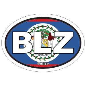 Belize Blz Flag Oval Magnet