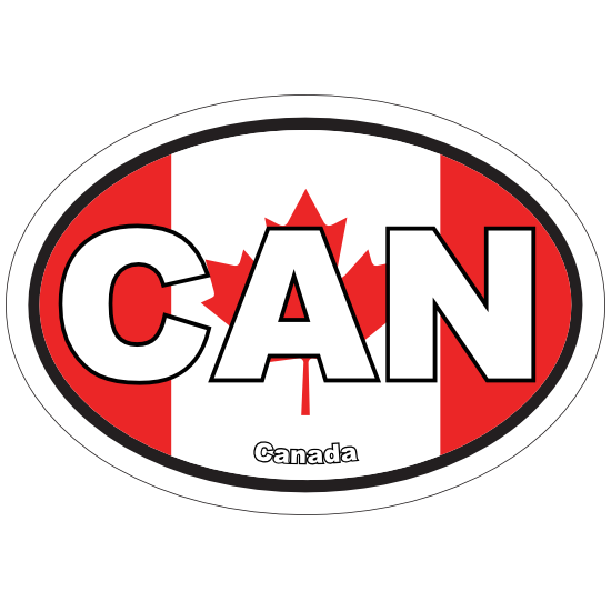 Canada CAN Flag Oval Sticker