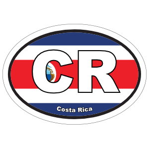 Costa Rica Cr Flag Oval Sticker