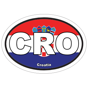 Croatia Cro Flag Oval Sticker