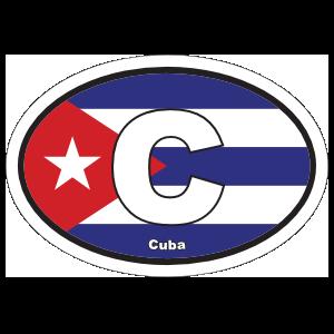 Cuba C Flag Oval Magnet