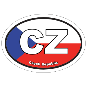 Czech Republic Cz Flag Oval Sticker