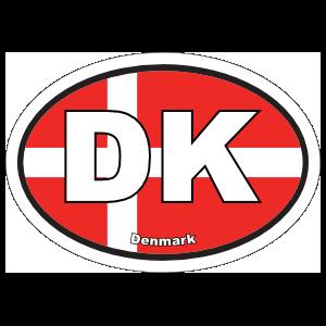 Denmark Dk Flag Oval Magnet