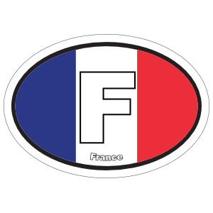 France F Flag Oval Sticker
