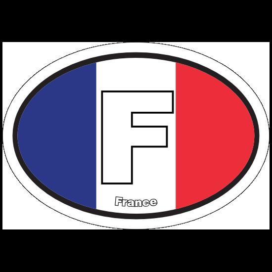 France F Flag Oval Sticker