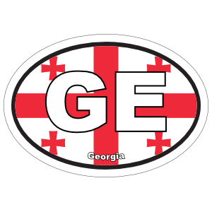 Georgia Ge Flag Oval Sticker