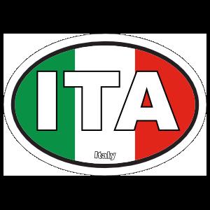 Italy Ita Flag Oval Sticker