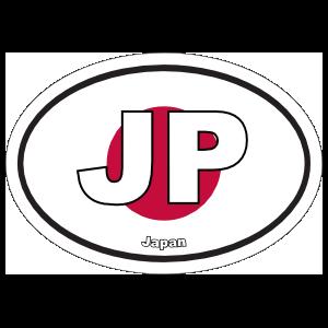 Japan Jp Flag Oval Sticker