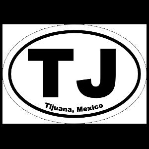 Tijuana Mexico Tj Oval Sticker