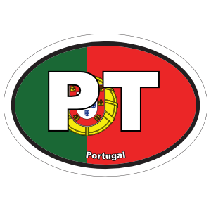 Portugal Pt Flag Oval Sticker