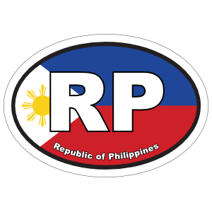 Republic Of Philippines Rp Flag Oval Magnet