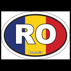 Romania Ro Flag Oval Sticker