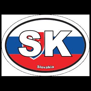 Slovakia Sk Flag Oval Magnet