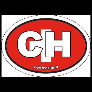Switzerland Ch Flag Oval Sticker
